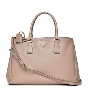 PRADA Saffiano Medium Double Zip Tote, Cammeo